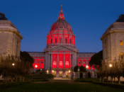 SF City Hall Lit Up Red for the Mars Lander