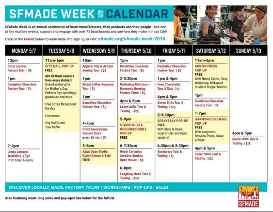 Sf Events Calendar.Sfmade Week 2018 Sf