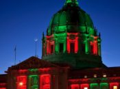 SF City Hall Lit Up for Christmas Eve