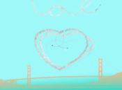 "Giant Heart in the Sky Above the Golden Gate Bridge | SF's ""Love Plane"""
