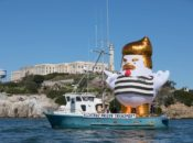 "33-foot Inflatable ""Trump Chicken"" Sails the Bay 