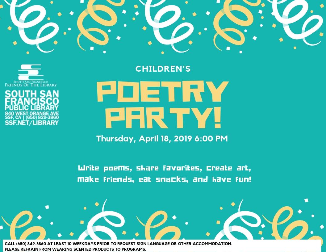 4/18/19: Kid's Poetry Party: Art, Enjoyable & Snacks|SSF – FREE