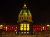 City Hall Lights Up in 49ers Colors
