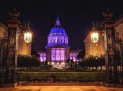 SF City Hall Lights Up Purple & Gold for the 100th Anniversary of 19th Amendment