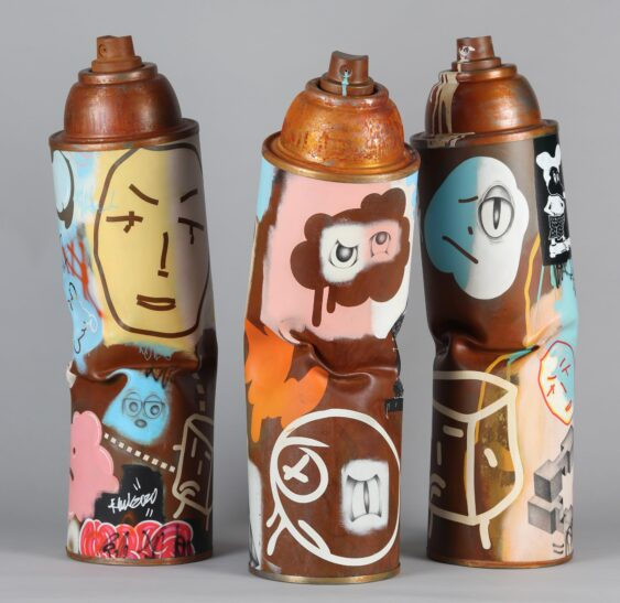 Gale hart life size spray can sculptures bronze available at voss gallery san francisco min 563x547