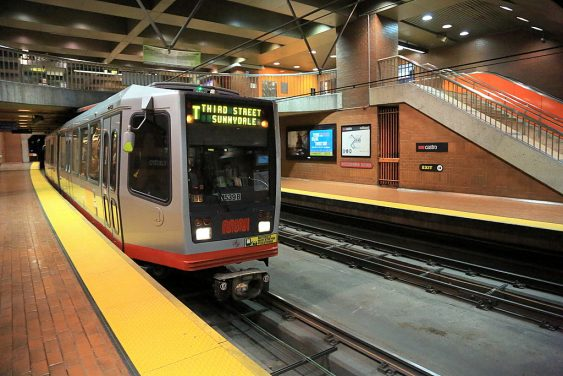 Inbound t third street train at castro station august 2013 563x376