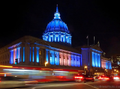 SF City Hall Lights Up Blue/Pink/White for Trans March